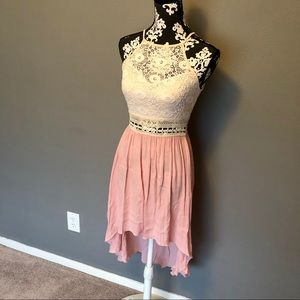 Dresses & Skirts - Pink and knit high low festival dress